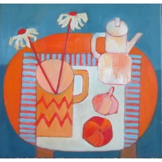 Coffee Pot and Daisies by Joan Willingham