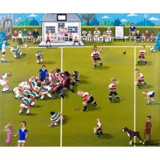 A Village Rugby Match by Noel Barker - limited edition print