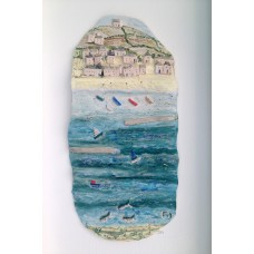 'Fishing Boats Bobbing Sea' by Julie Harper - 3D painted porcelain picture