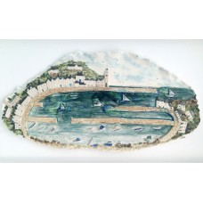 'Porthleven Harbour' by Julie Harper - 3D painted porcelain picture
